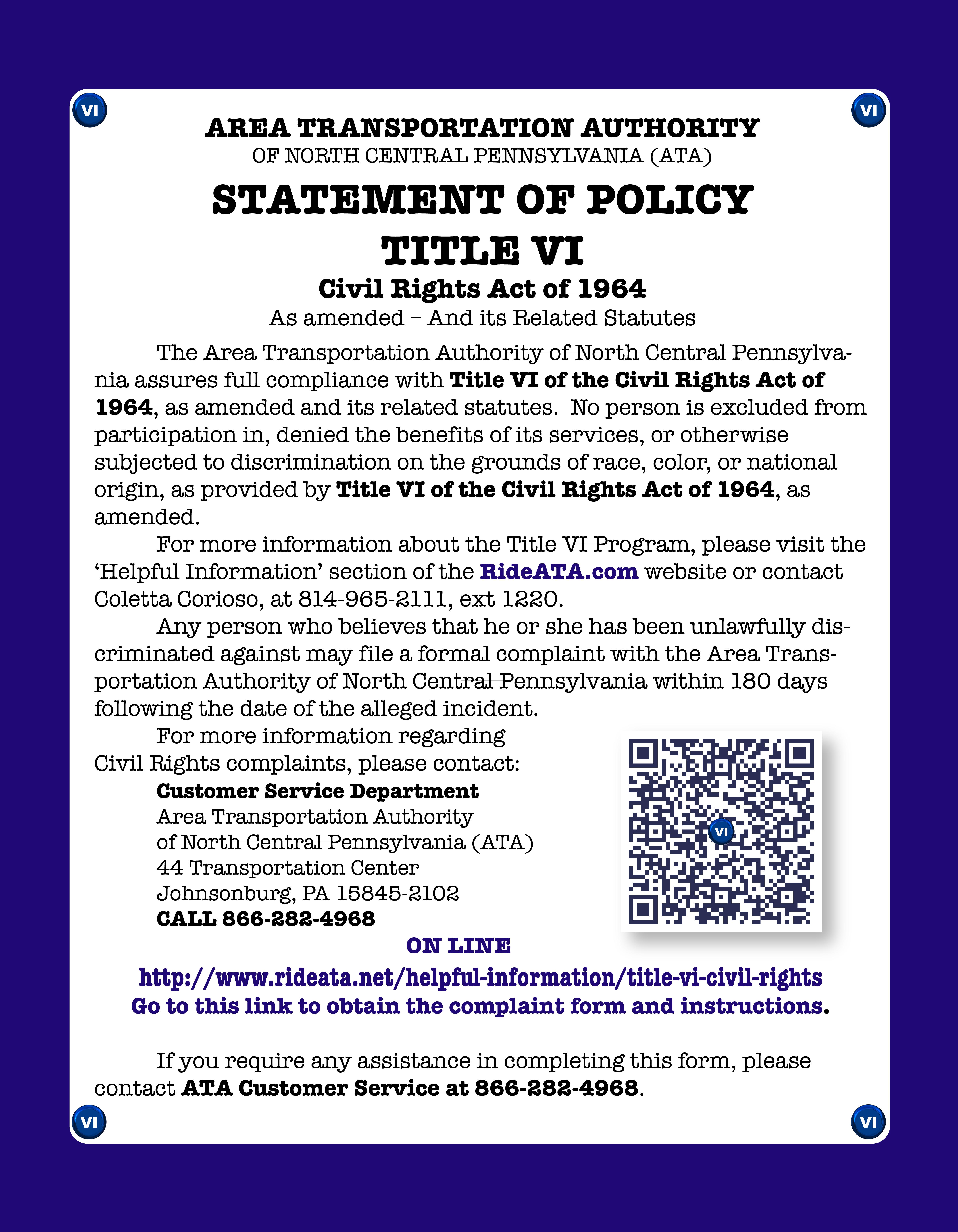 ATA Title VI Compliance Poster
