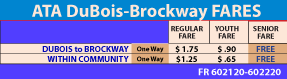 Fare Table ATA DuBois-Brockway