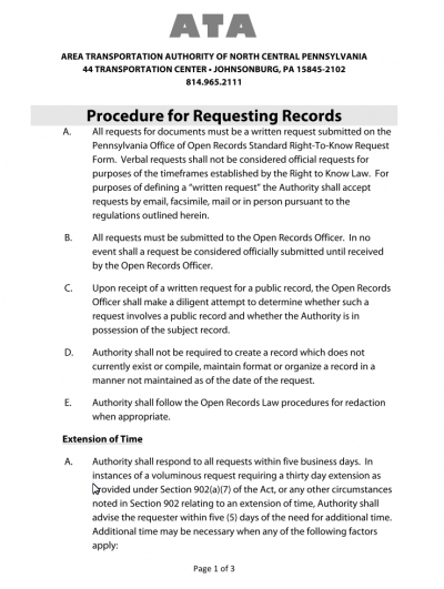Procedure for Requesting Records
